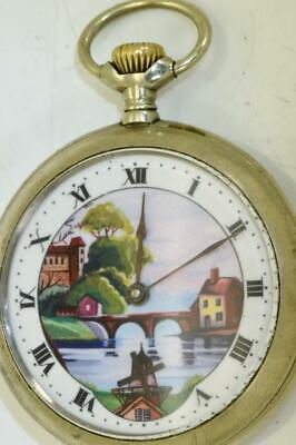 Antique Omega Automaton Dutch Mill fancy enamel dial pocket watch c1900's