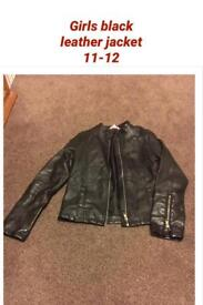 Girls leather jacket age 11-12