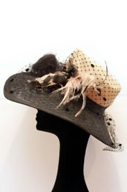*NEW* Beautiful Women's Hat in black + champagne by KATHERINE ELIZABETH for Ascot, Wedding