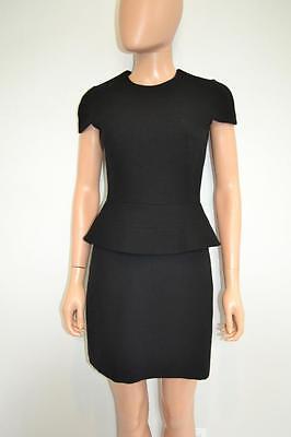 Alexander McQueen Black Cotton/Wool Cap Sleeve Peplum Dress Sz.38