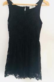 Black lace sleeveless skater dress