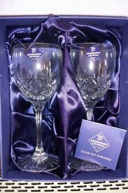 "EDINBURGH CHRYSTAL ""TAY"" Large wine glasses. Brand new. Boxed."