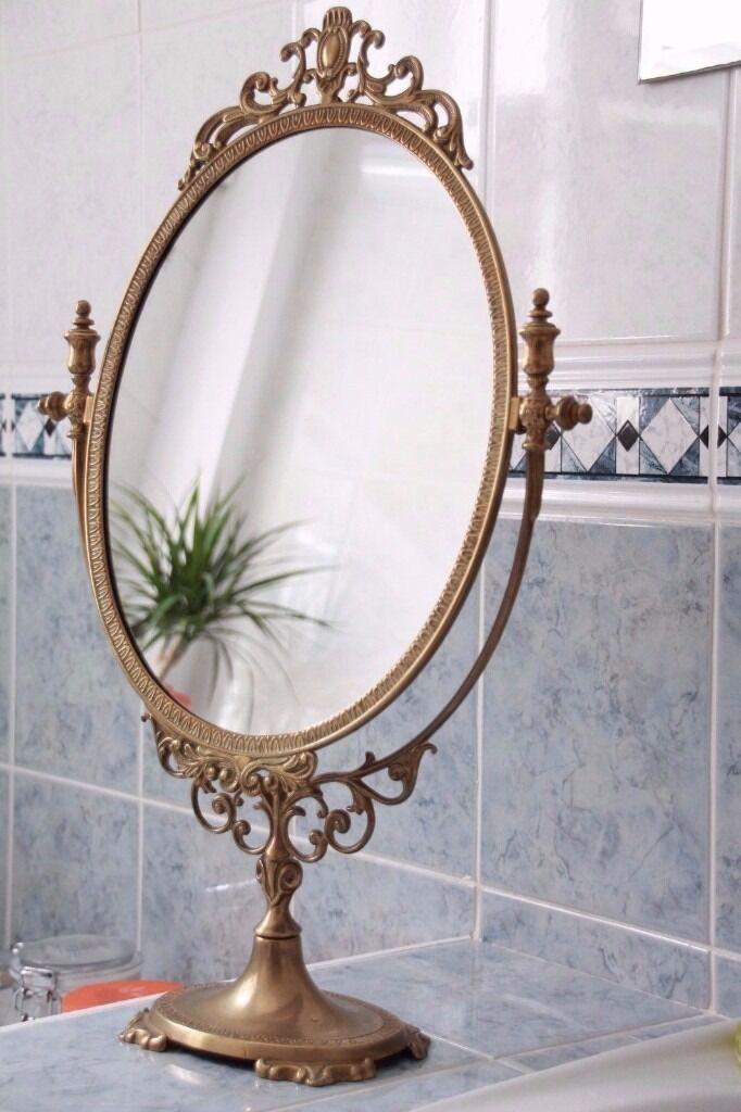 Ornate Freestanding Solid Brass Tilting Vanity Mirror