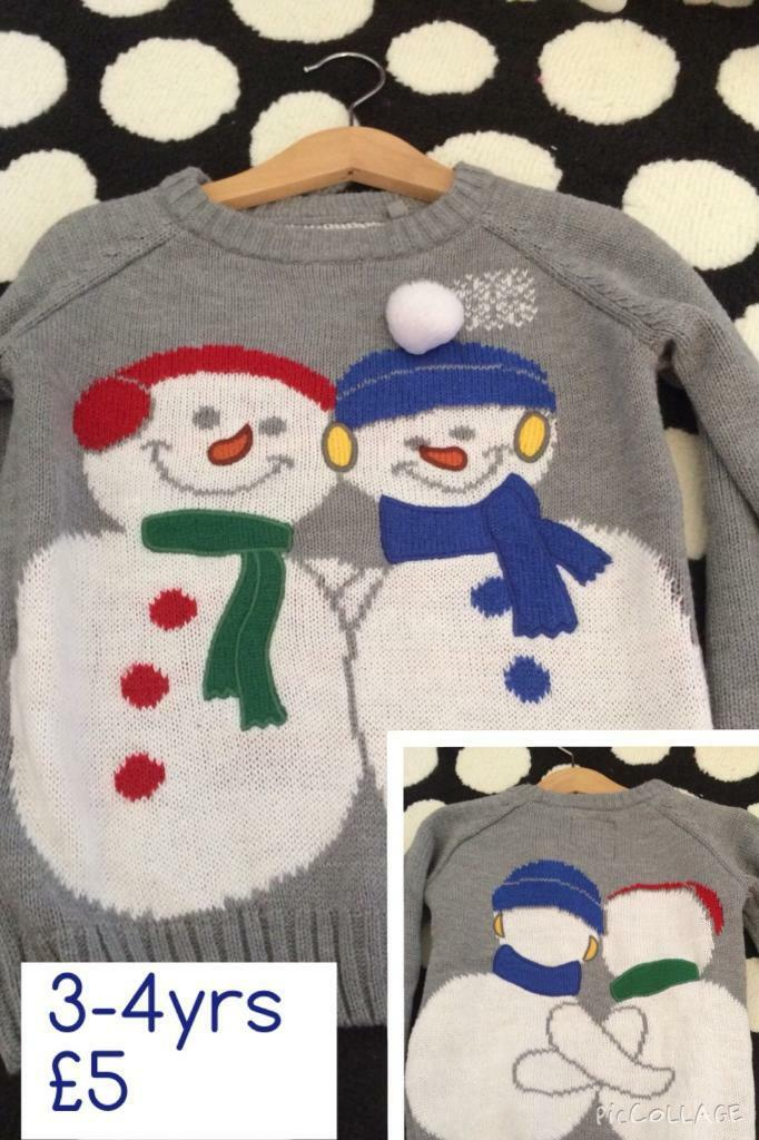 Unisex Christmas jumper 3-4y