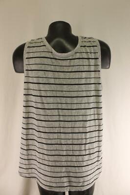 Athleta Womens XL Gray Black Stripe Asana Muscle Tank Top Shirt Very NICE! Yoga