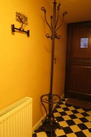 Cast Iron coat stand, black, with umbrella stand