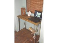 Rustic Chestnut Industrial Desk hairpin Leg Table