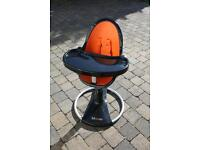 BLOOM FRESCO BLACK HIGH CHAIR AND SEAT LINER IN HARVEST ORANGE.