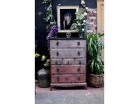 CHEST OF DRAWERS PAINTED SULKING ROOM PINK SOLID WOOD STAG MINSTREL MID CENTURY RUSTIC