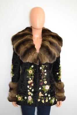 Valentino Black Persian Lamb/Brown Chinchilla Floral Embroidered Jacket Size 42 Black Chinchilla