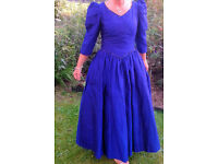 Sapphire Blue Silk Full Length Princess PartyBall Gown Wedding Halloween Fancy Dress Gothic UK 12