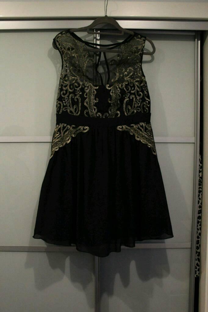 Little Mistress size 16 black and gold dress