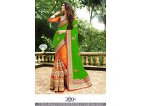 Heavy bordered saree, brand new, eight colours available