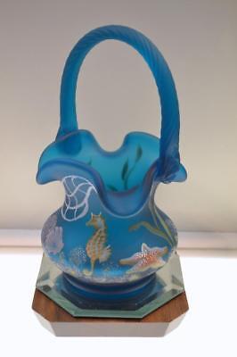 Fenton BASKET Turquoise Satin OCEAN LIFE Engraved GEORGE & NANCY '07 FREEusaSHP ()