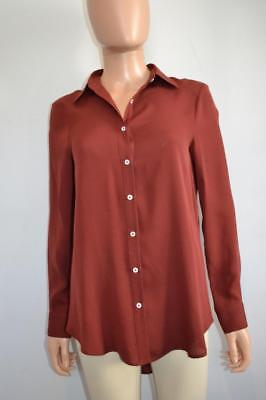 The Row Brick Red Silk Button Front Blouse/Shirt, Size XS