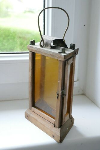 RAR Primitive old wood lantern, barn lantern, antique candle lantern, 19th Cent.