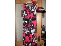 long evening dress size 14. with black & silver shoes, & hand bag, & fasinator