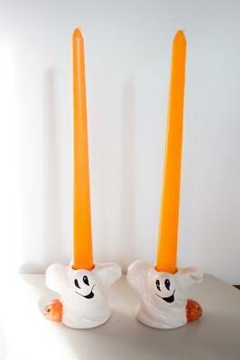 Set/2 Vintage Ceramic Ghost Pumpkin Jack-O-Lantern Candle Sticks Holders Tapers