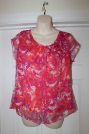 LADIES TOP - MARKS & SPENCERS - RED WITH FLOWERS - SIZE