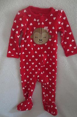 Carter's Just for You Baby Girl Sleepwear Footie Size 9 Months Hearts Red