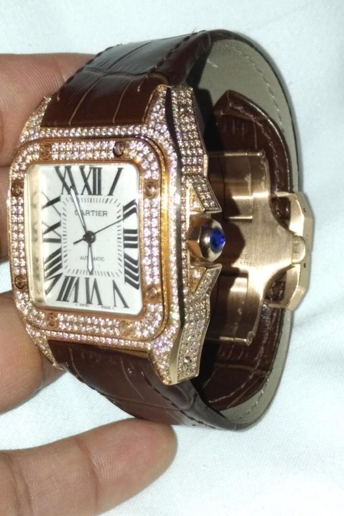 bc7d7fe9b85c2 Cartier Santos L - Rose Gold - With diamonds