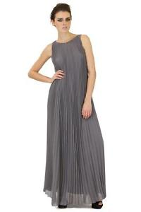 Halston-Heritage-Pleated-Long-Dress-Ash-Grey-chiffon-polyester-maxi-belted-crew