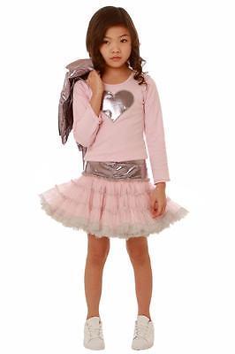 Ooh La La Couture Little Girls Heart Applique Top Tulle Skirt Pink - Silver Little Girl Dresses