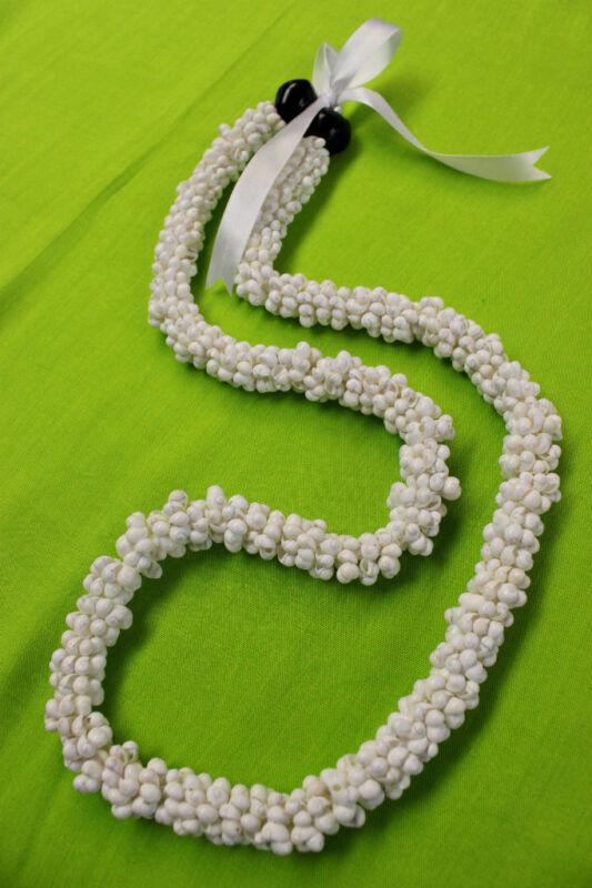 NEW Hawaiian Wedding / Graduation Mini Shell Lei Hula Jewelry Necklace ~ WHITE