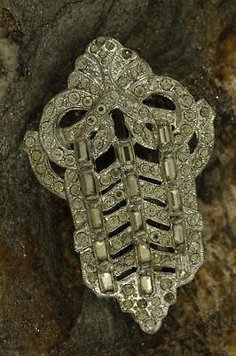 "Vintage Estate Jewelry Pot Metal Art Deco Silver Tone Rhinestone FUR CLIP 2-1/4"""