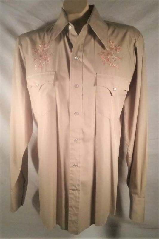 VTG CHAMPIONS WESTERN COWBOY SHIRT EMBROIDERY CHEST SNAP BUTTON FRONT 15.5 M