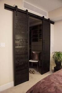 Reclaimed Wood and Iron Horizontal Barn Door. By LIKEN Woodworks