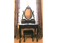 French Toulouse Black Dressing Table with Mirror and Stool