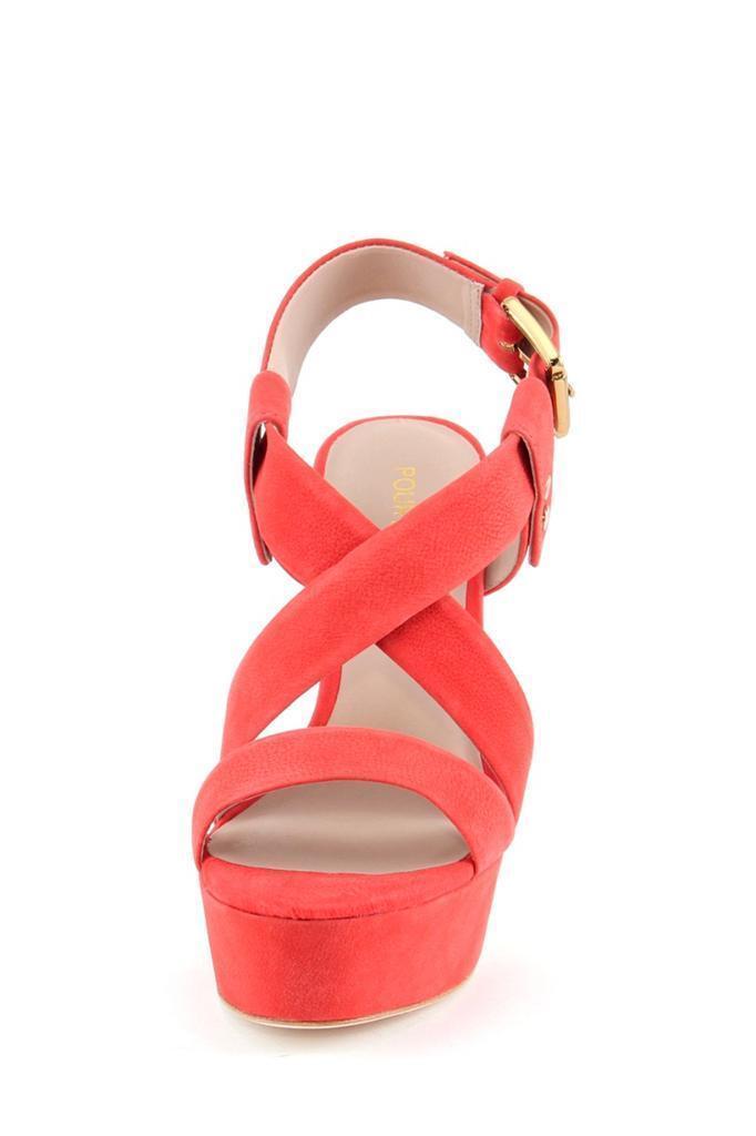 Pour La Victoire Women's Nealla CORAL RED Platform Sandal High Heels Leather NEW