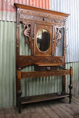 A Stunning Large & Heavily Carved Antique English Oak Gothic Hall Stand