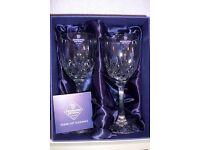 "Two EDINBURH CRYSTAL wine goblets. ""TAY"" pattern"