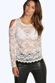 Boohoo Open Shoulder Lace Top