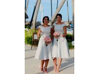 Elegant silver grey knee length bridesmaid dress