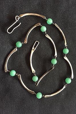 Esther Lewittes Modernist Necklace Bracelet Set Sterling Silver Aventurine Beads