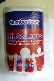Slumberdown All Seasons DOUBLE Duvet - 3 duvets in 1 - Pop together or pull apart.