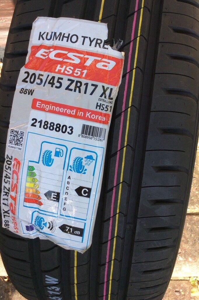4x 205/ 45 ZR17 W Tyres - Brand new and unused
