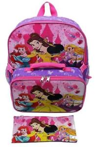 Disney Princess Ariel, Belle & Rapunzel Girls 15 Inch Backpack with Lunch Kit and Pencil Case