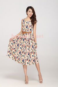 2013 Summer Womens Sleeveless Pleated Chiffon Floral Print Vest Long Dress Skirt