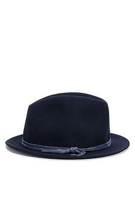 HAT ATTACK Mini Brim Fedora NAVY blue 100% wool USA Designer One Size NEW