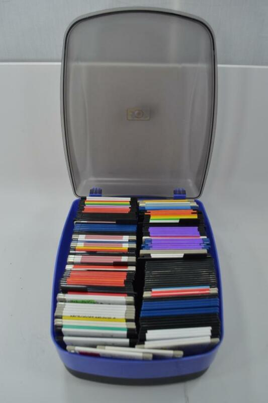 """Lot of 136 Used 3 1/2"""" 1.44MB Floppy Disks in Rubbermaid Disk Case #R-1-1"""