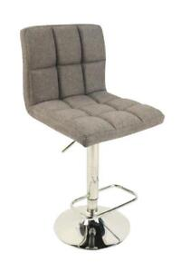 Hydraulic Stool: Grey Fabric, Tufted + stainless steel