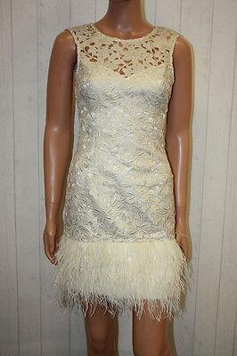 LIPSY Kleid S 36 Beige Gold edel Tanzkleid Spitze Fransen mini 12927