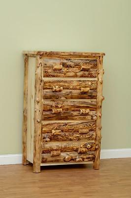 LOG DRESSER 5 DRAWER CHEST LOG FURNITURE COLORADO ASPEN AMISH MADE RUSTIC ()