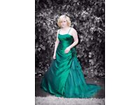 Emerald Green Satin Prom Bridesmaid Wedding Dress Rose Poison Ivy