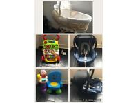 Car seat, moses basket, walker and more