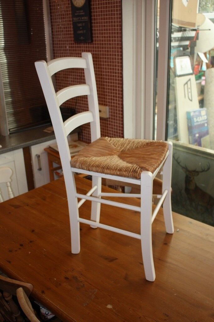 White Painted Rush Seat Dining Chair